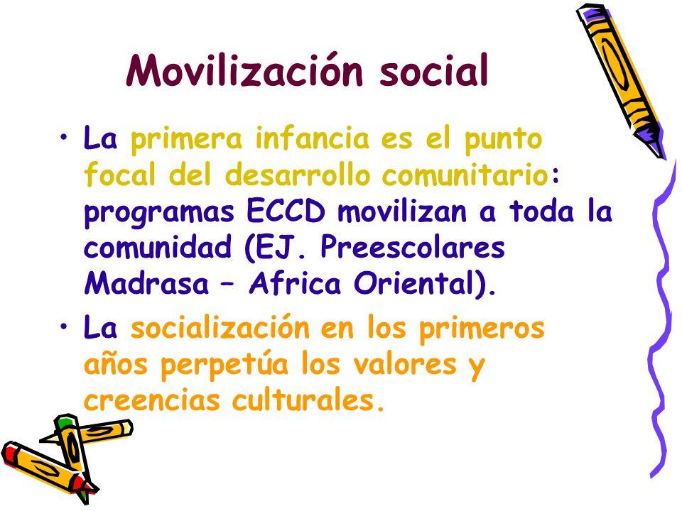 Movilización social La primera infancia es el punto focal del desarrollo comunitario: programas ECCD movilizan a toda la comunidad (EJ. Preescolares M
