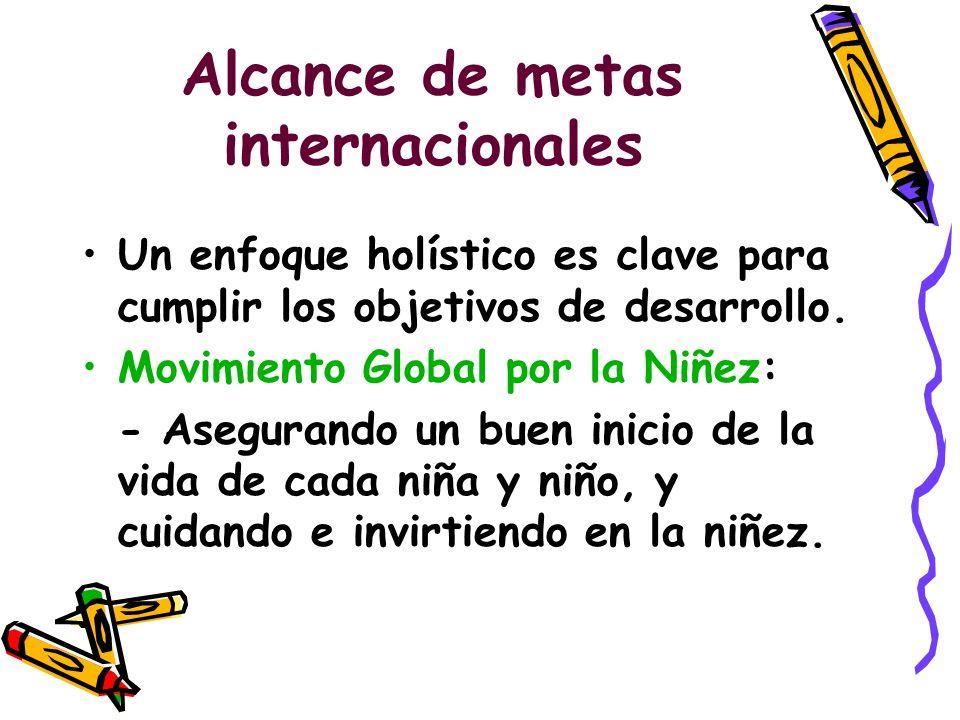 Alcance de metas internacionales Un enfoque holístico es clave para cumplir los objetivos de desarrollo. Movimiento Global por la Niñez: - Asegurando
