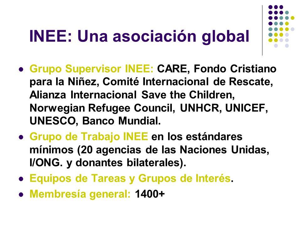 INEE: Una asociación global Grupo Supervisor INEE: CARE, Fondo Cristiano para la Niñez, Comité Internacional de Rescate, Alianza Internacional Save the Children, Norwegian Refugee Council, UNHCR, UNICEF, UNESCO, Banco Mundial.
