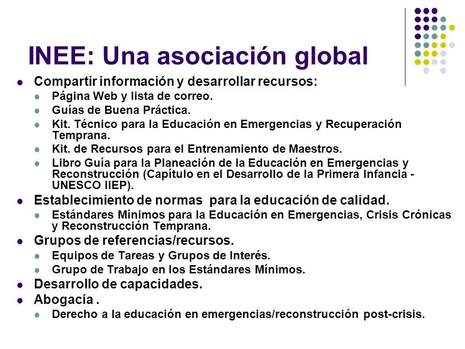 INEE: Una asociación global Compartir información y desarrollar recursos: Página Web y lista de correo.