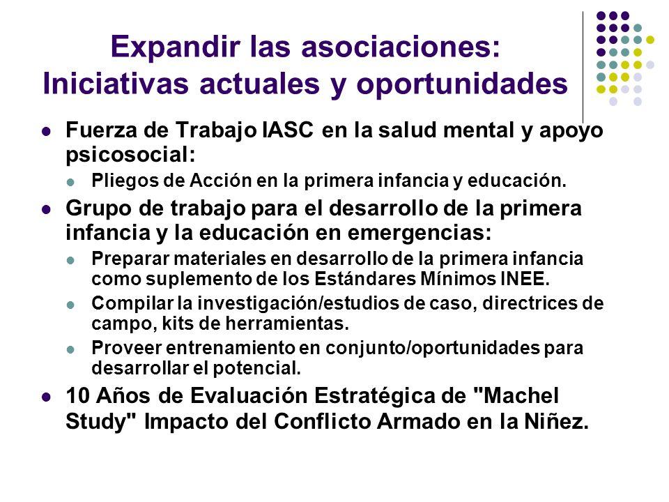 Expandir las asociaciones: Iniciativas actuales y oportunidades Fuerza de Trabajo IASC en la salud mental y apoyo psicosocial: Pliegos de Acción en la primera infancia y educación.