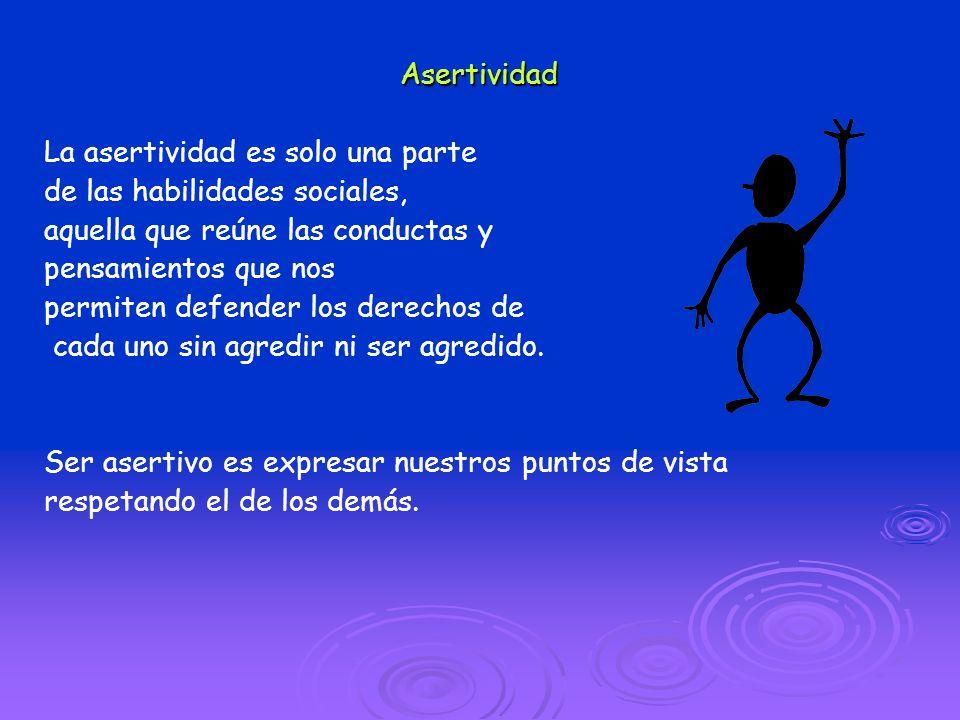 Asertividad La asertividad es solo una parte de las habilidades sociales, aquella que reúne las conductas y pensamientos que nos permiten defender los
