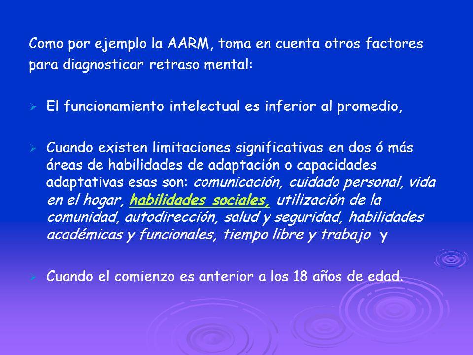 Como por ejemplo la AARM, toma en cuenta otros factores para diagnosticar retraso mental: El funcionamiento intelectual es inferior al promedio, Cuand