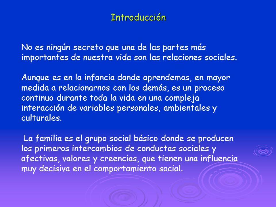 Introducción No es ningún secreto que una de las partes más importantes de nuestra vida son las relaciones sociales. Aunque es en la infancia donde ap