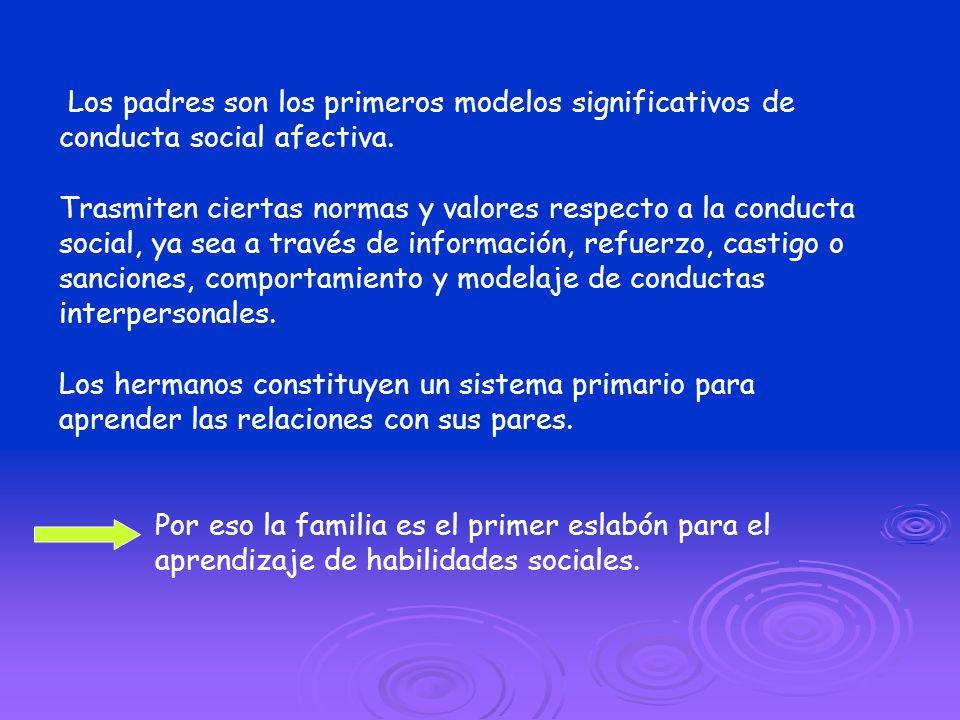 Los padres son los primeros modelos significativos de conducta social afectiva. Trasmiten ciertas normas y valores respecto a la conducta social, ya s
