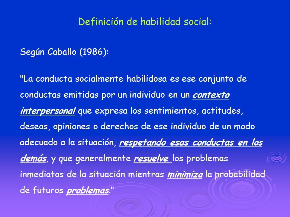 Definición de habilidad social: Según Caballo (1986):