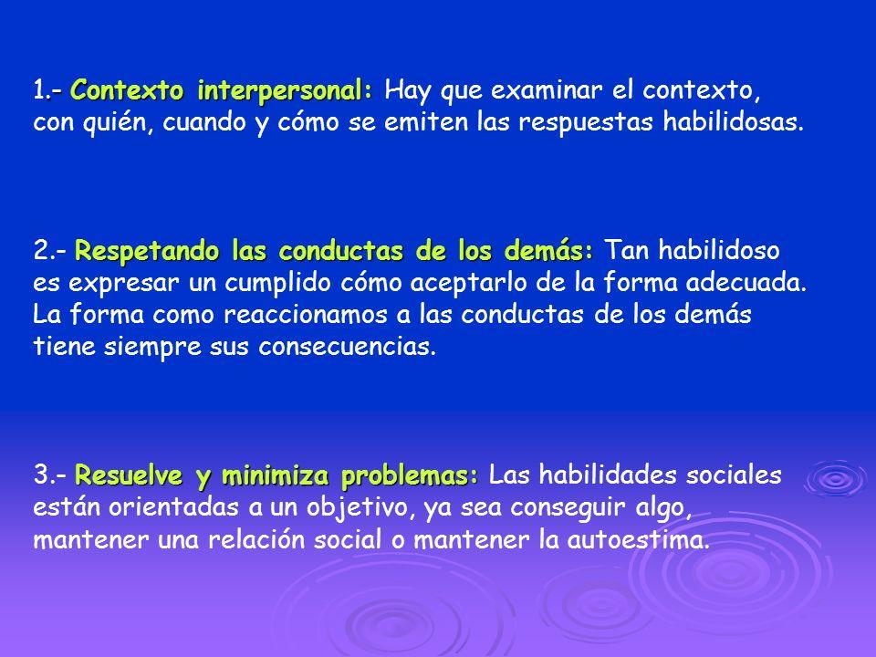 .- Contexto interpersonal: 1.- Contexto interpersonal: Hay que examinar el contexto, con quién, cuando y cómo se emiten las respuestas habilidosas. Re