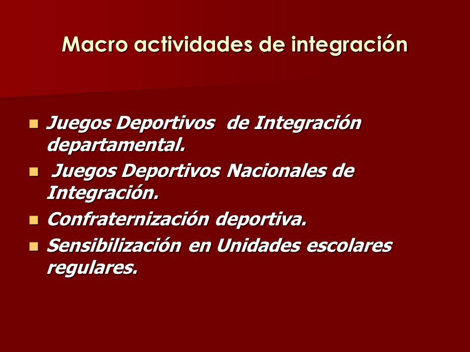 Macro actividades de integración Juegos Deportivos de Integración departamental.