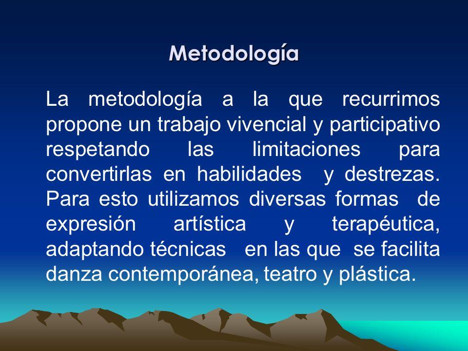 Metodología La metodología a la que recurrimos propone un trabajo vivencial y participativo respetando las limitaciones para convertirlas en habilidades y destrezas.