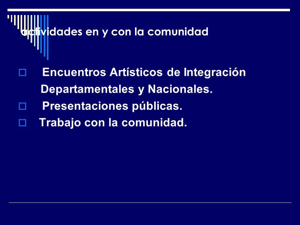 actividades en y con la comunidad Encuentros Artísticos de Integración Departamentales y Nacionales. Presentaciones públicas. Trabajo con la comunidad