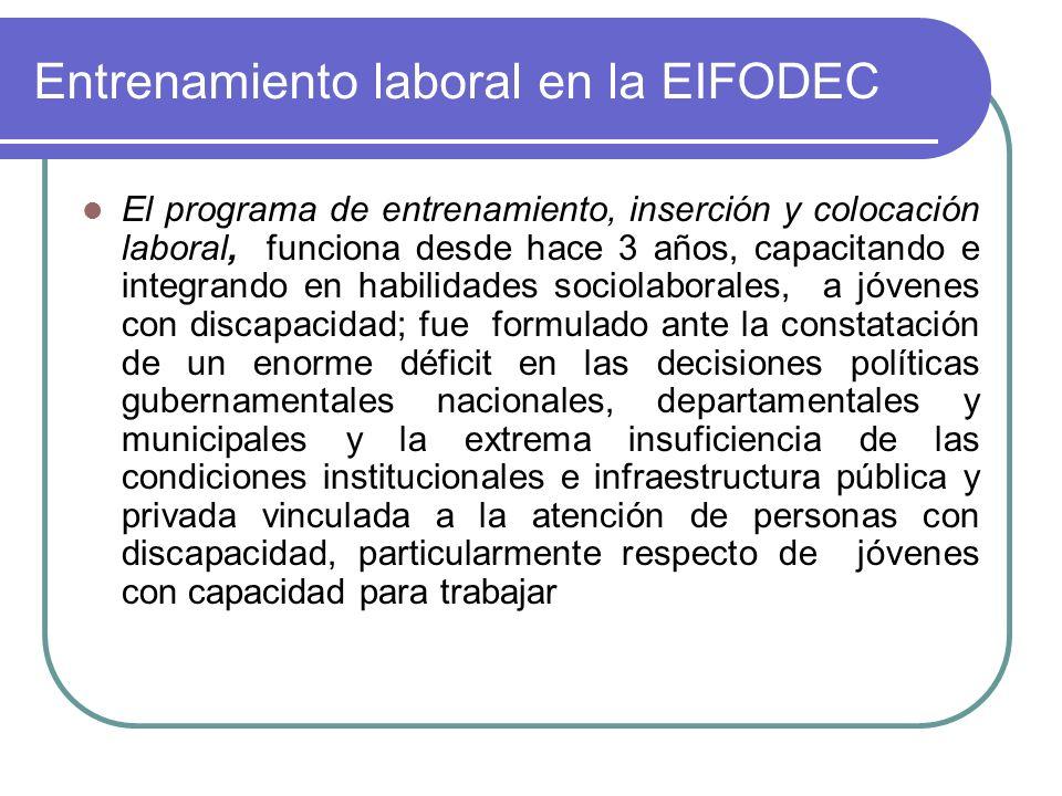 Entrenamiento laboral en la EIFODEC El programa de entrenamiento, inserción y colocación laboral, funciona desde hace 3 años, capacitando e integrando
