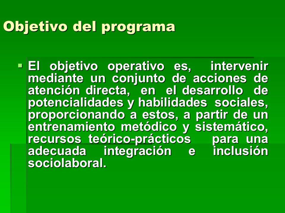 Objetivo del programa El objetivo operativo es, intervenir mediante un conjunto de acciones de atención directa, en el desarrollo de potencialidades y habilidades sociales, proporcionando a estos, a partir de un entrenamiento metódico y sistemático, recursos teórico-prácticos para una adecuada integración e inclusión sociolaboral.