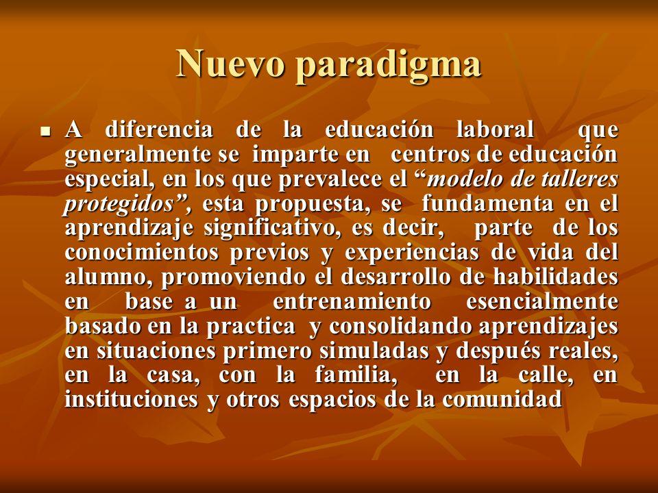 Nuevo paradigma A diferencia de la educación laboral que generalmente se imparte en centros de educación especial, en los que prevalece el modelo de t