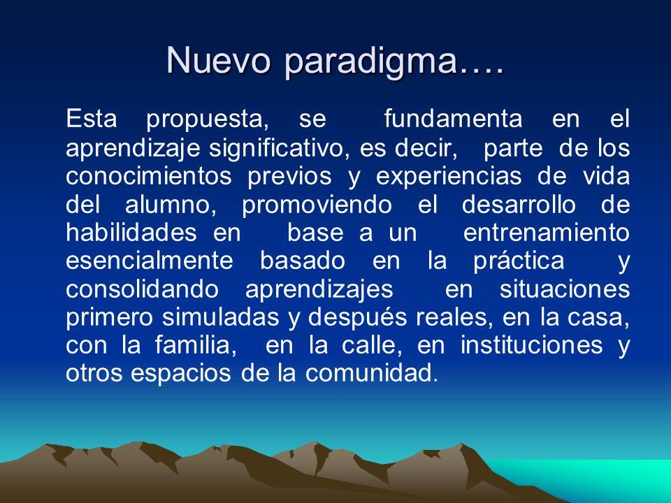 Nuevo paradigma…. Esta propuesta, se fundamenta en el aprendizaje significativo, es decir, parte de los conocimientos previos y experiencias de vida d