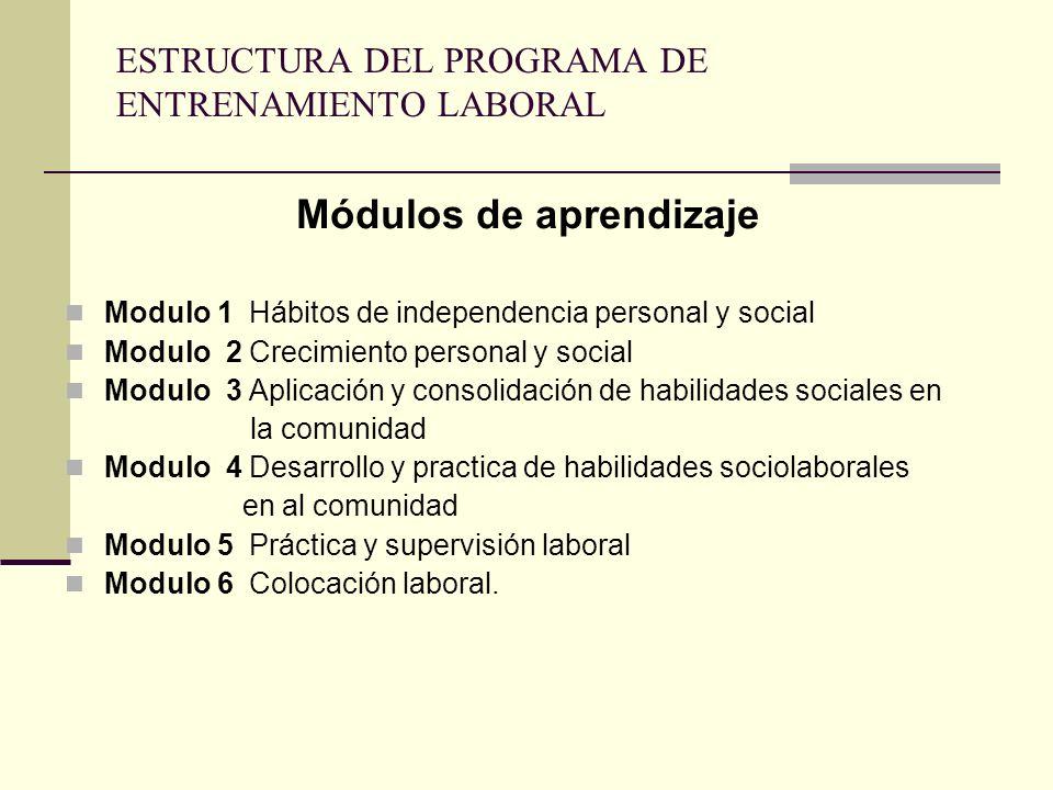 ESTRUCTURA DEL PROGRAMA DE ENTRENAMIENTO LABORAL Módulos de aprendizaje Modulo 1 Hábitos de independencia personal y social Modulo 2 Crecimiento personal y social Modulo 3 Aplicación y consolidación de habilidades sociales en la comunidad Modulo 4 Desarrollo y practica de habilidades sociolaborales en al comunidad Modulo 5 Práctica y supervisión laboral Modulo 6 Colocación laboral.