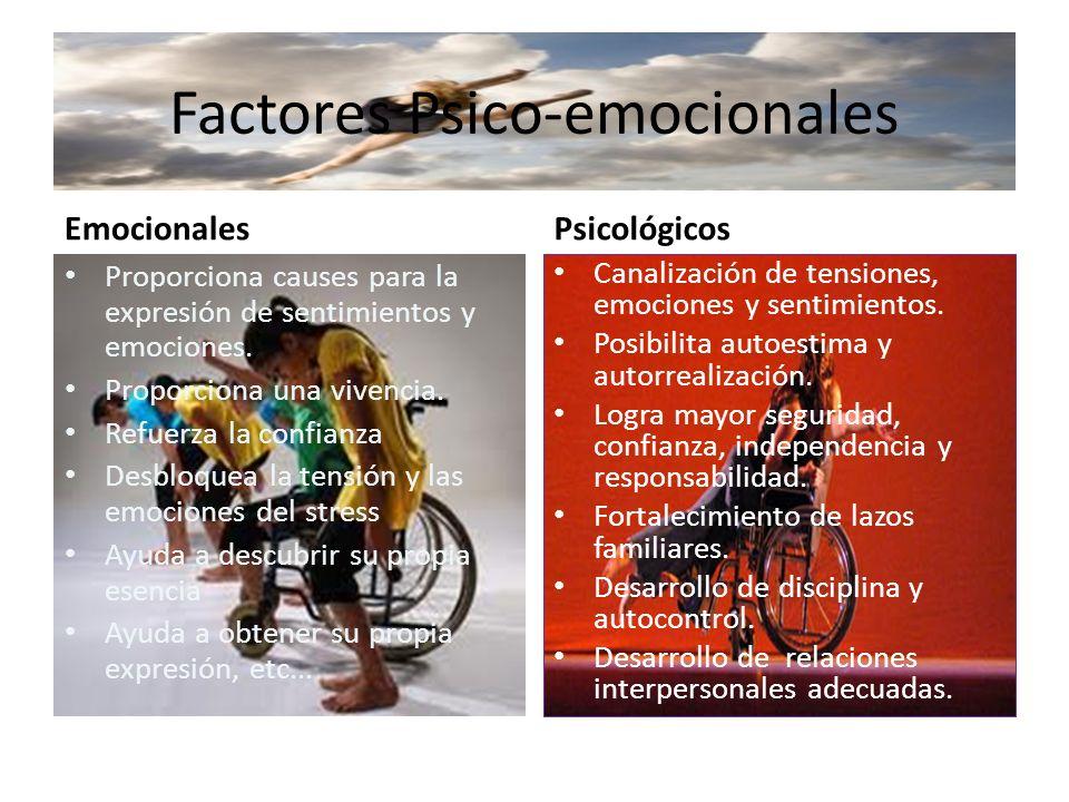 Factores Psico-emocionales Emocionales Proporciona causes para la expresión de sentimientos y emociones. Proporciona una vivencia. Refuerza la confian