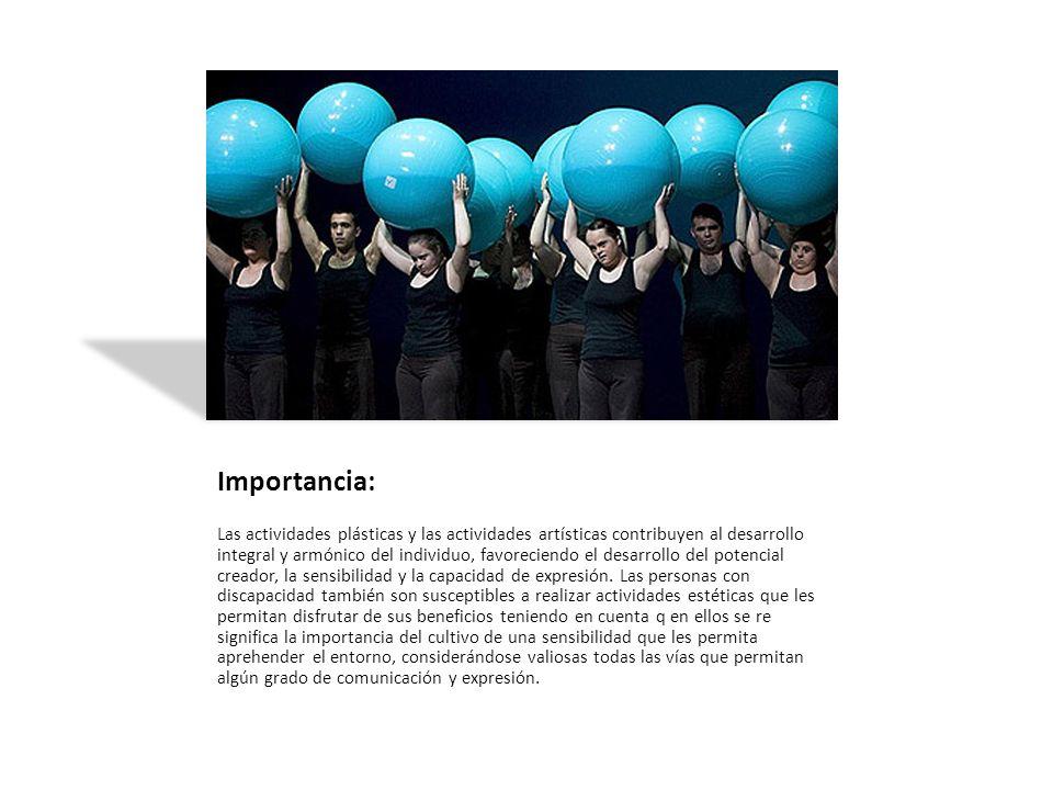 Importancia: Las actividades plásticas y las actividades artísticas contribuyen al desarrollo integral y armónico del individuo, favoreciendo el desar