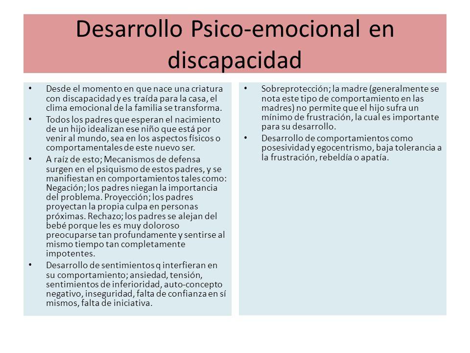 Desarrollo Psico-emocional en discapacidad Desde el momento en que nace una criatura con discapacidad y es traída para la casa, el clima emocional de