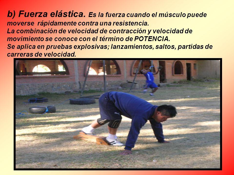 b) Fuerza elástica. Es la fuerza cuando el músculo puede moverse rápidamente contra una resistencia. La combinación de velocidad de contracción y velo