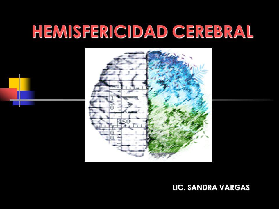 HEMISFERICIDAD CEREBRAL LIC. SANDRA VARGAS