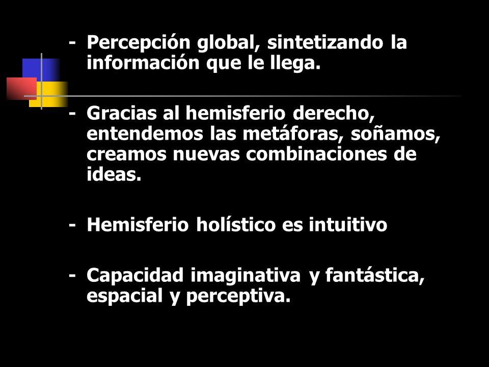 -Percepción global, sintetizando la información que le llega.