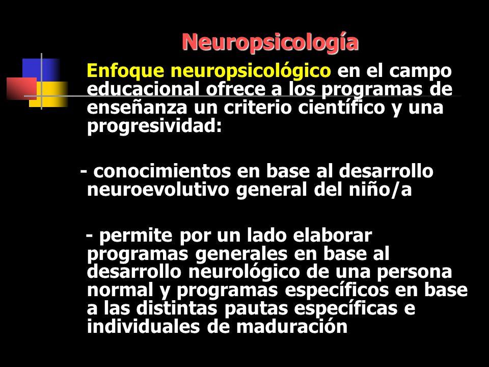Neuropsicología Enfoque neuropsicológico en el campo educacional ofrece a los programas de enseñanza un criterio científico y una progresividad: - conocimientos en base al desarrollo neuroevolutivo general del niño/a - permite por un lado elaborar programas generales en base al desarrollo neurológico de una persona normal y programas específicos en base a las distintas pautas específicas e individuales de maduración