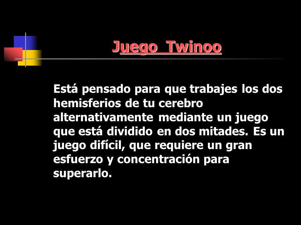 Juego Twinoo uego Twinoouego Twinoo Está pensado para que trabajes los dos hemisferios de tu cerebro alternativamente mediante un juego que está dividido en dos mitades.