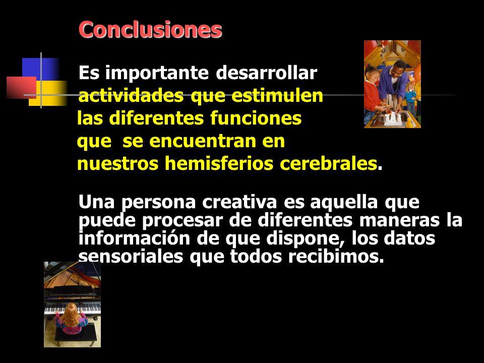Conclusiones Es importante desarrollar actividades que estimulen las diferentes funciones que se encuentran en nuestros hemisferios cerebrales.