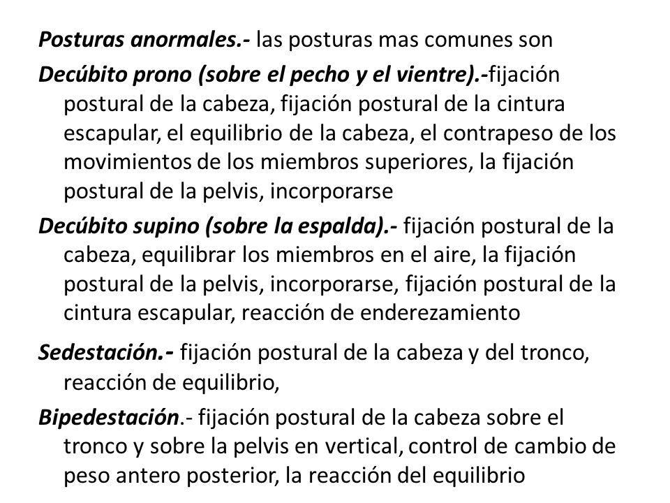 Posturas anormales.- las posturas mas comunes son Decúbito prono (sobre el pecho y el vientre).-fijación postural de la cabeza, fijación postural de l