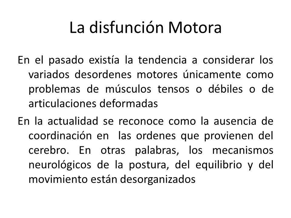La disfunción Motora En el pasado existía la tendencia a considerar los variados desordenes motores únicamente como problemas de músculos tensos o déb