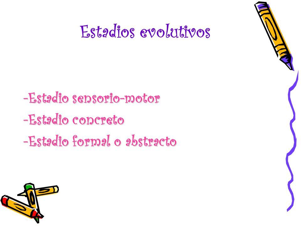 Estadios evolutivos -Estadio sensorio-motor -Estadio concreto -Estadio formal o abstracto
