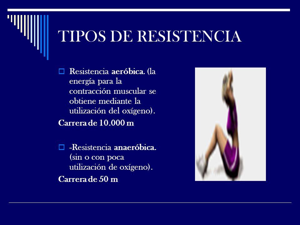 TIPOS DE RESISTENCIA Resistencia aeróbica.