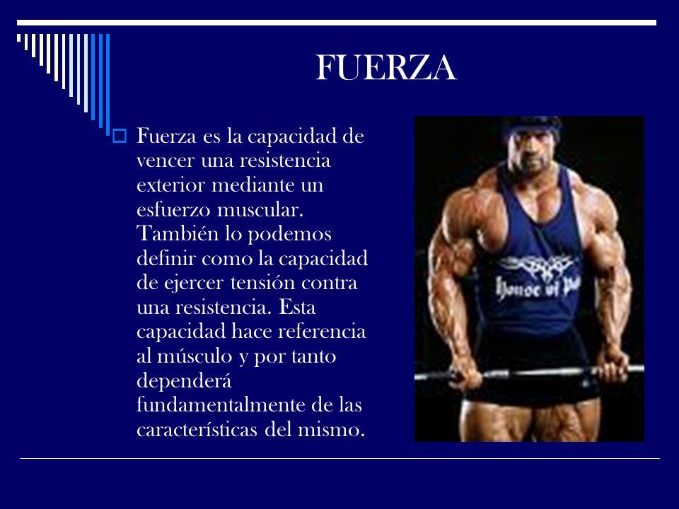 FUERZA Fuerza es la capacidad de vencer una resistencia exterior mediante un esfuerzo muscular.