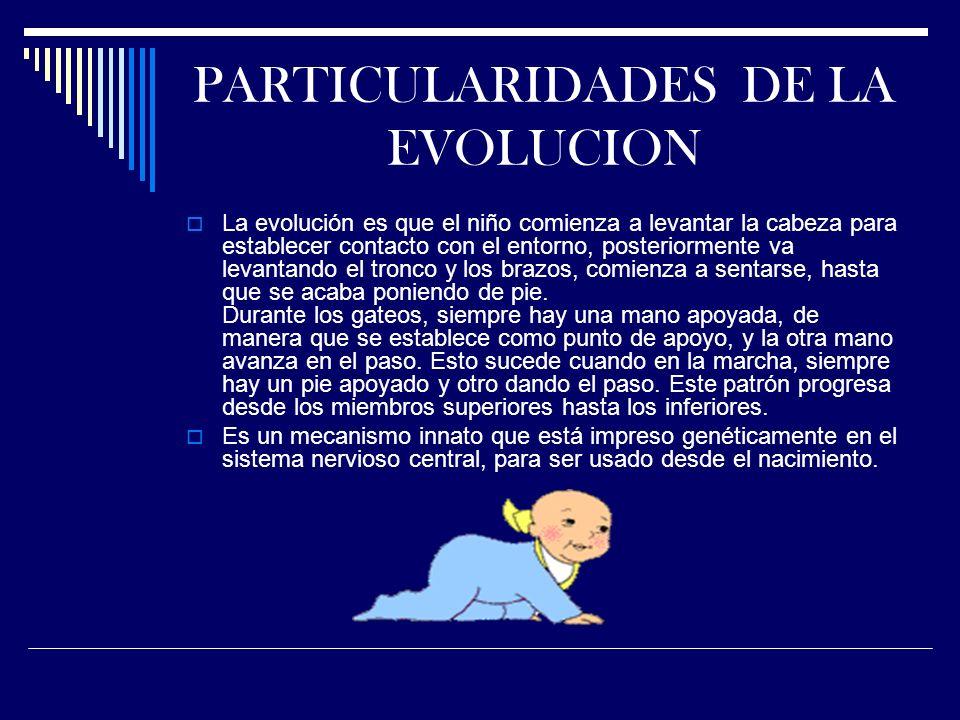 PARTICULARIDADES DE LA EVOLUCION La evolución es que el niño comienza a levantar la cabeza para establecer contacto con el entorno, posteriormente va levantando el tronco y los brazos, comienza a sentarse, hasta que se acaba poniendo de pie.
