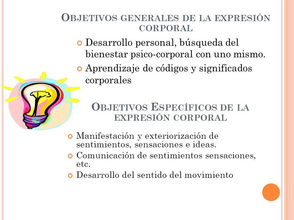 O BJETIVOS GENERALES DE LA EXPRESIÓN CORPORAL Desarrollo personal, búsqueda del bienestar psico-corporal con uno mismo. Aprendizaje de códigos y signi