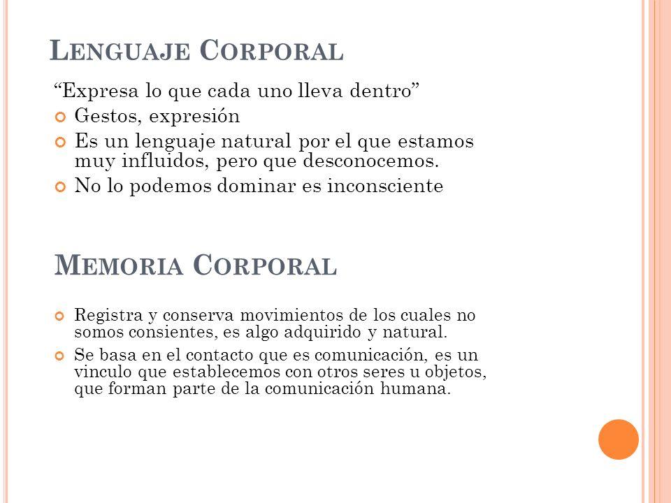 L ENGUAJE C ORPORAL Expresa lo que cada uno lleva dentro Gestos, expresión Es un lenguaje natural por el que estamos muy influidos, pero que desconoce