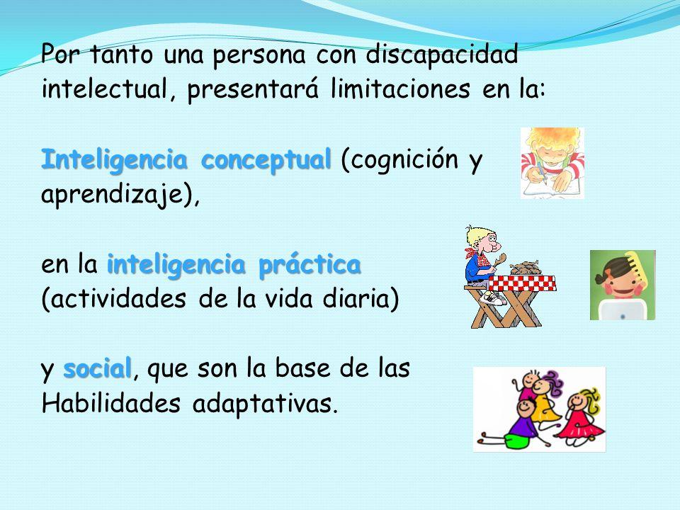 Por tanto una persona con discapacidad intelectual, presentará limitaciones en la: Inteligencia conceptual Inteligencia conceptual (cognición y aprend