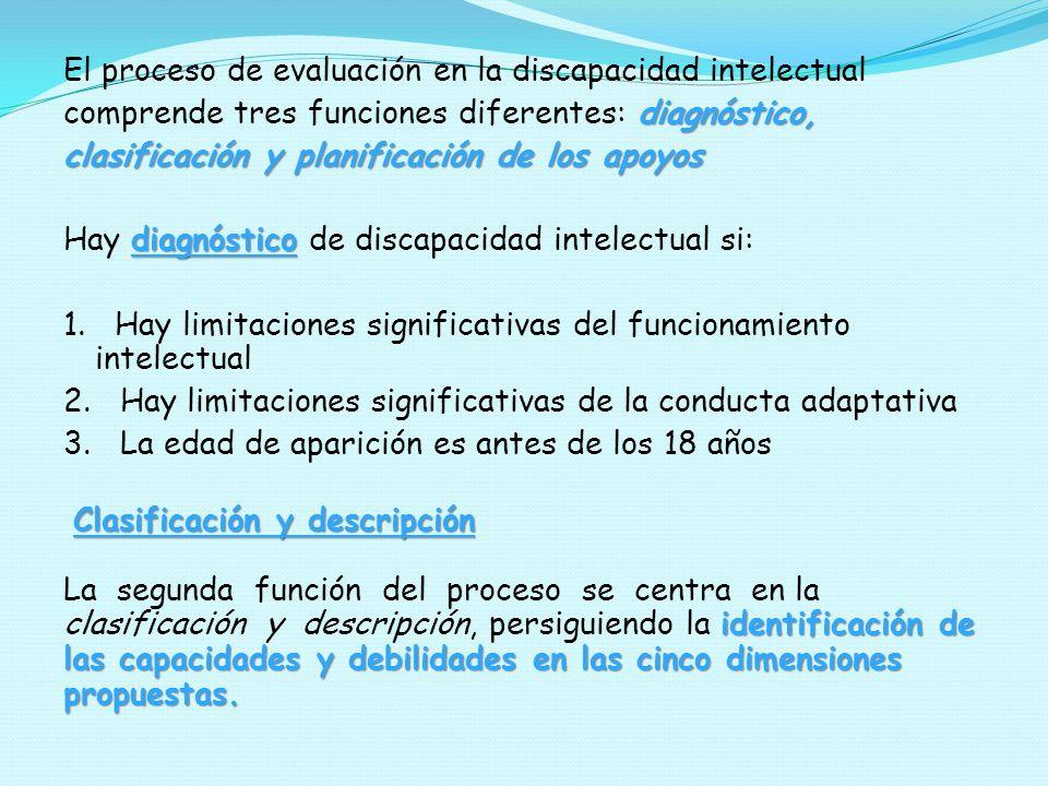 El proceso de evaluación en la discapacidad intelectual diagnóstico, comprende tres funciones diferentes: diagnóstico, clasificación y planificación d
