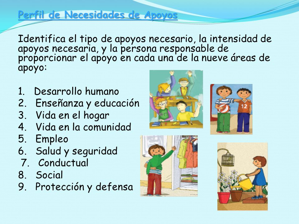 Perfil de Necesidades de Apoyos Identifica el tipo de apoyos necesario, la intensidad de apoyos necesaria, y la persona responsable de proporcionar el