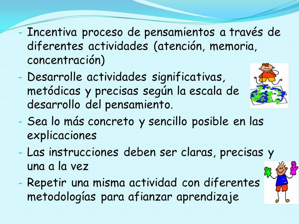 - Incentiva proceso de pensamientos a través de diferentes actividades (atención, memoria, concentración) - Desarrolle actividades significativas, met