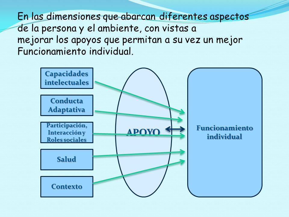 En las dimensiones que abarcan diferentes aspectos de la persona y el ambiente, con vistas a mejorar los apoyos que permitan a su vez un mejor Funcion