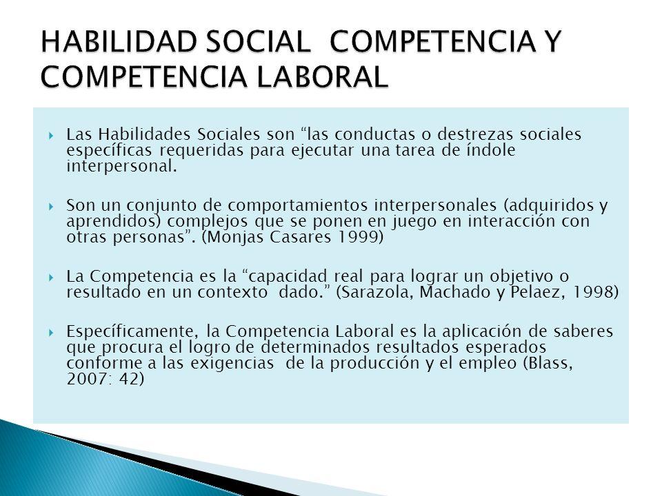 Las Habilidades Sociales son las conductas o destrezas sociales específicas requeridas para ejecutar una tarea de índole interpersonal. Son un conjunt