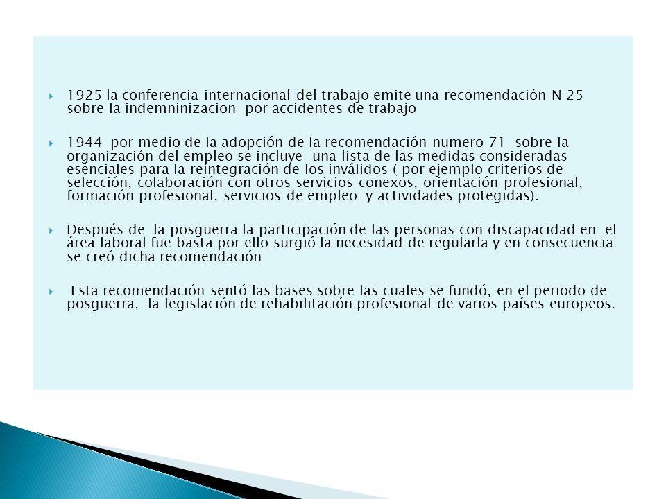 1925 la conferencia internacional del trabajo emite una recomendación N 25 sobre la indemninizacion por accidentes de trabajo 1944 por medio de la ado