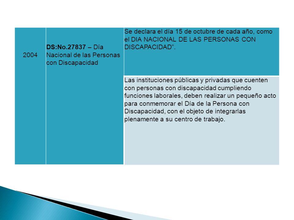 2004 DS:No.27837 – Día Nacional de las Personas con Discapacidad Se declara el día 15 de octubre de cada año, como el DIA NACIONAL DE LAS PERSONAS CON