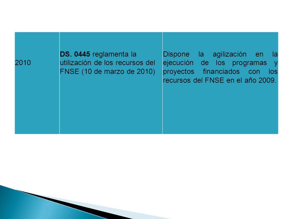 2010 DS. 0445 reglamenta la utilización de los recursos del FNSE (10 de marzo de 2010) Dispone la agilización en la ejecución de los programas y proye