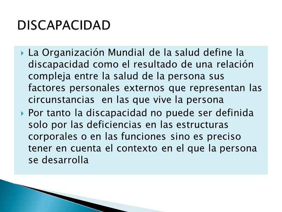 La Organización Mundial de la salud define la discapacidad como el resultado de una relación compleja entre la salud de la persona sus factores person