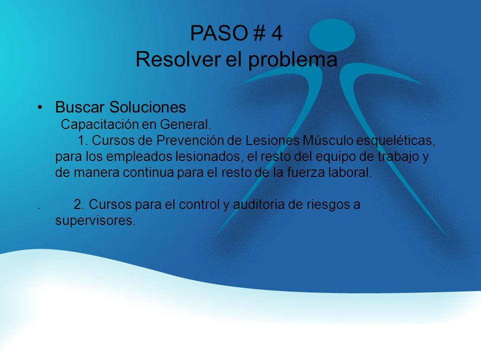 PASO # 4 Resolver el problema Buscar Soluciones Capacitación en General.