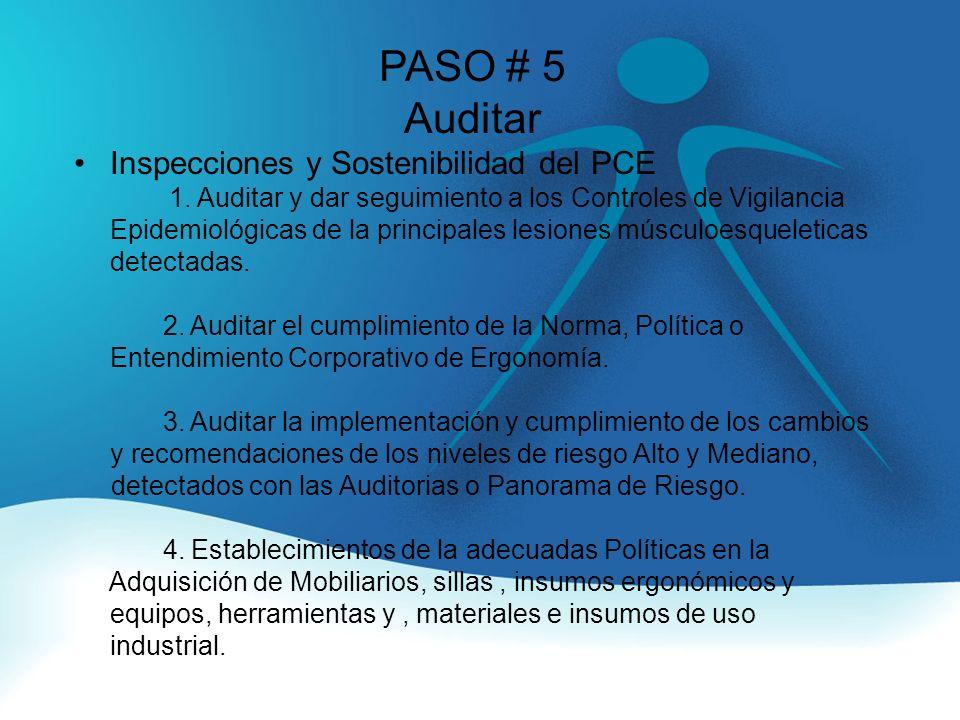 PASO # 5 Auditar Inspecciones y Sostenibilidad del PCE 1.
