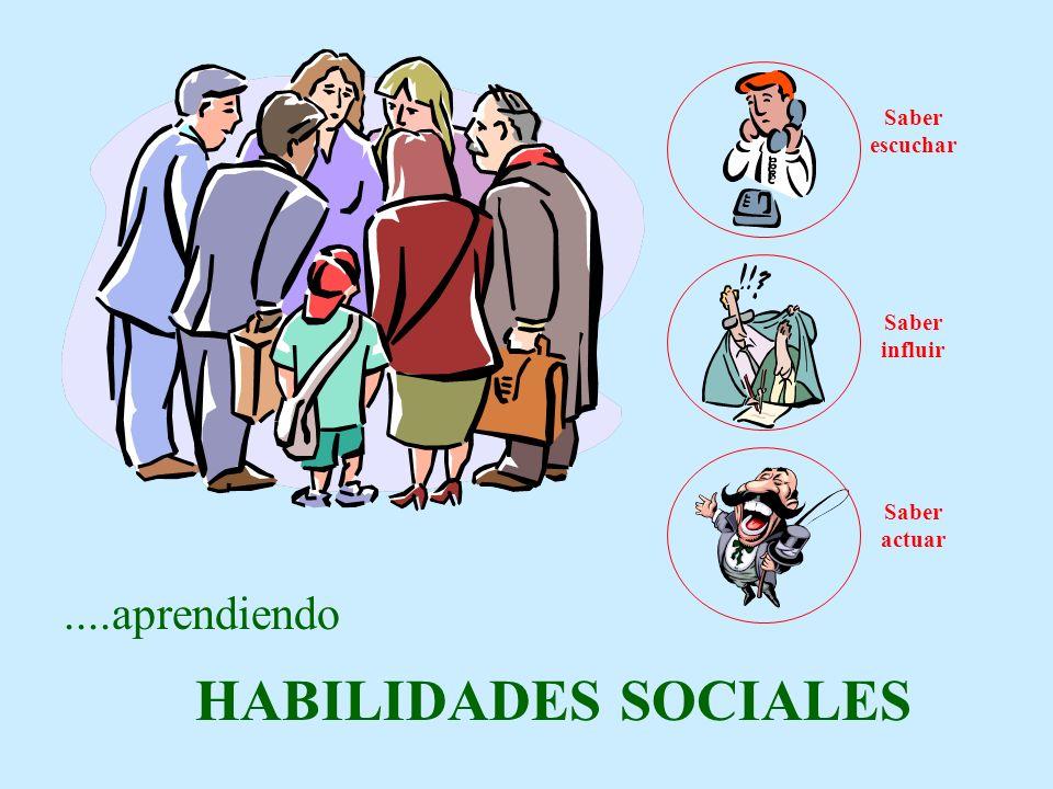 ....aprendiendo HABILIDADES SOCIALES Saber escuchar Saber influir Saber actuar