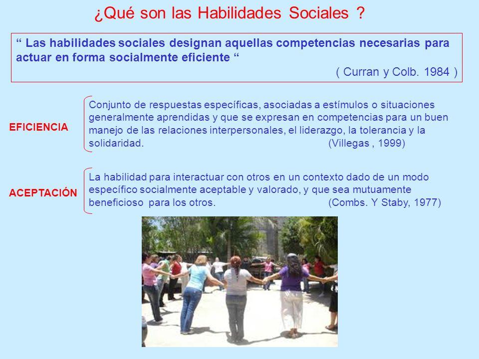 Con el término de habilidades sociales nos vamos a referir a un amplio número de respuestas, destinadas a establecer y efectuar interacciones sociales.